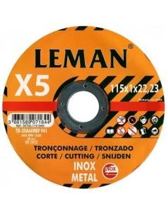 LOTE 5 DISCOS LEMAN INOX 115 X 1,0 X 22.23